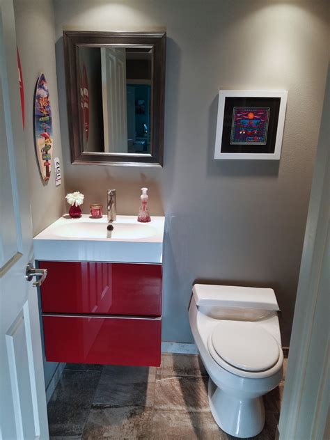 Red powder room ideas powder room traditional with stained