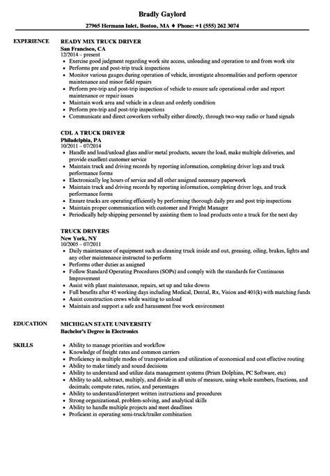 truck resume sles velvet