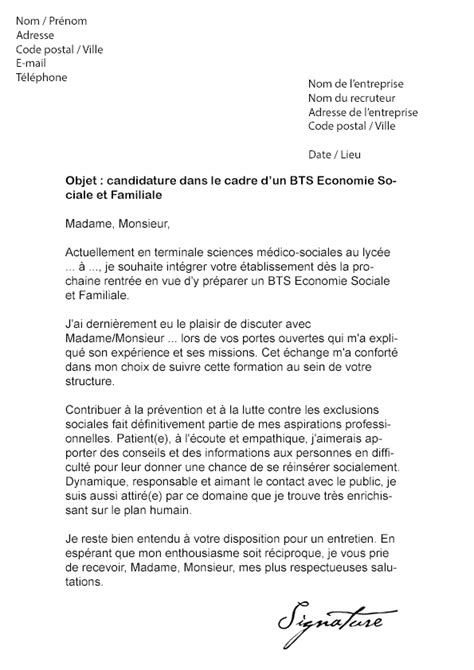 modele lettre de motivation lycee bts document
