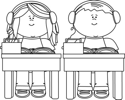 school clipart black and white black and white school listening to books clip