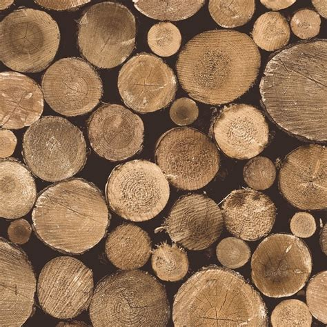 Contemporary Faux Wood Nature Tree Stump Brown, Firewood Wallpaper, R3707   Rustic   Wallpaper