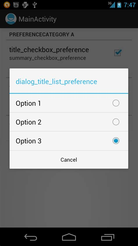 android preference android er preferencefragment with listpreference