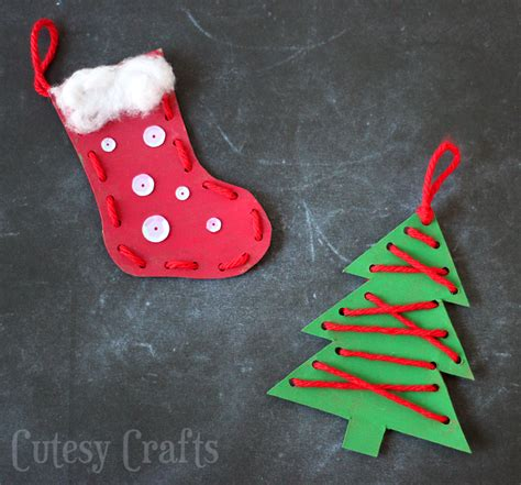 christmas craft for kids lacing ornaments cutesy crafts