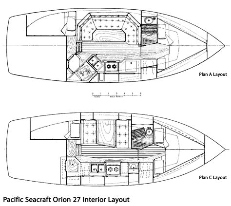 interior design layout sle the pacific seacraft orion 27 sailboat bluewaterboats org