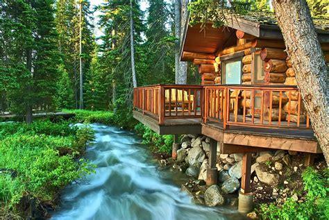 Flowing Lake Cabins by Swiftly Flowing River Hd Desktop Wallpaper Widescreen