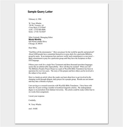 Response Letter To Query Query Letter Template 7 Formats Sles Exles