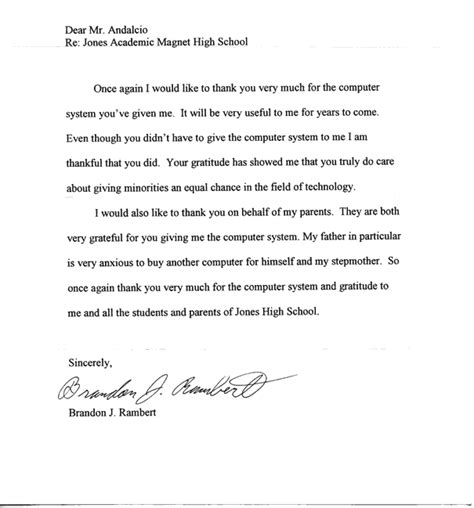 Thank You Letter To Computer 2012jones Academic Magnet High School Wynndalco Enterprises