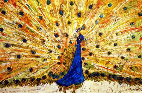 Modern White Duvet Cover Peacock Art Mixed Media Collage 8x10 Painting By Miriam