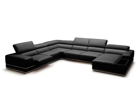 leather black sectional full leather sectional sofa viva leather sectionals