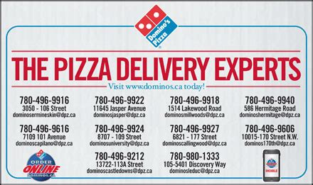 phone number to domino s domino s pizza 6821 177th st nw edmonton ab