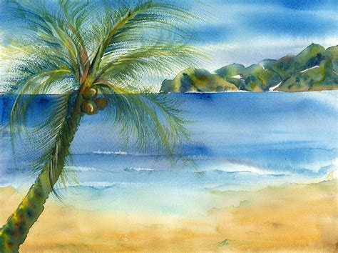 beautiful picture beach coconut painting by deborah pence