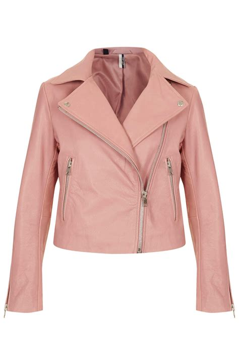 Hoodie Jacket Atticus Sweater Jaket lyst topshop boxy leather biker jacket in pink