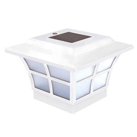 white solar l post classy caps 4 in x 4 in white pvc outdoor prestige solar