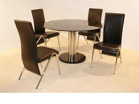 Black Glass Dining Table And 4 Chairs Black Glass Dining Table And 4 Chairs Homegenies