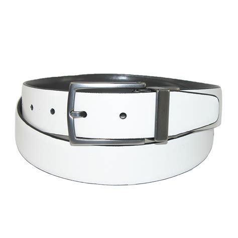 mens leather white to grey reversible belt by kenneth cole