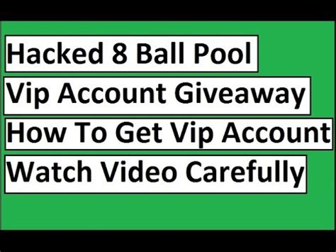 8 Ball Pool Giveaway - hacked vip account 8 ball pool giveaway for android mobiles youtube