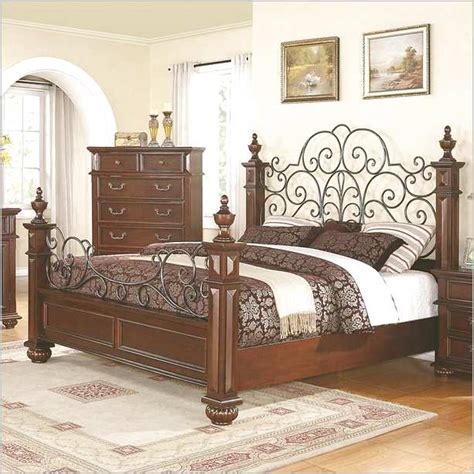 vintage style metal bed frame wood and wrought iron bed