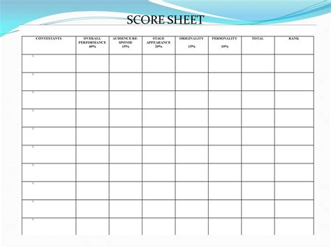 Gymnastics Judges Score Card Template by Talent Show Score Sheet Stairway To Heaven By Led