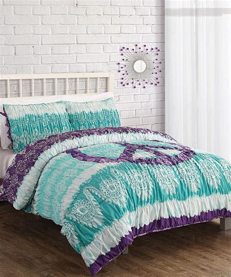 aqua textured peace sign comforter set just for my