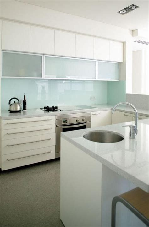 picture of trendy minimalist solid glass kitchen
