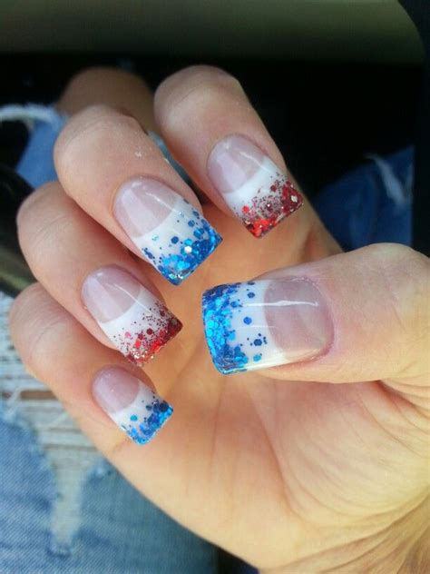 red acrylic 4th of july nils 4th of july nails different but cute nails pinterest