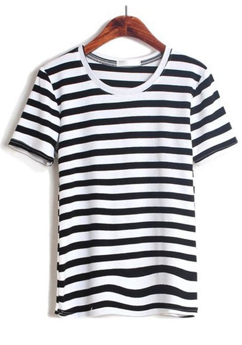 Sleeve Striped T Shirt multicolor striped print sleeve cotton t shirt t