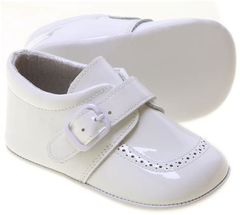 white baby sneakers baby boy white patent pram shoes velcro buckle cachet