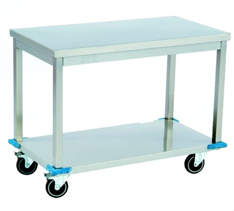 mobile work table with lower shelf fnf metal