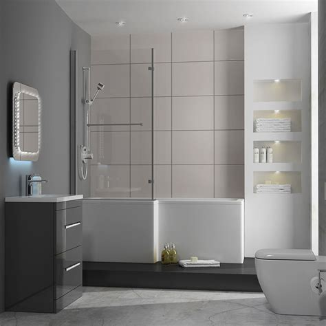 patello  grey  shapped shower bath suite buy