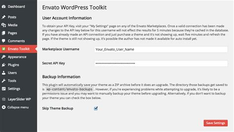 themeforest secret api key envato wordpress toolkit guide for automatic theme updates