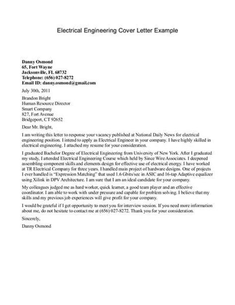 Engineering Technician Cover Letter by Electrical Engineer Cover Letter