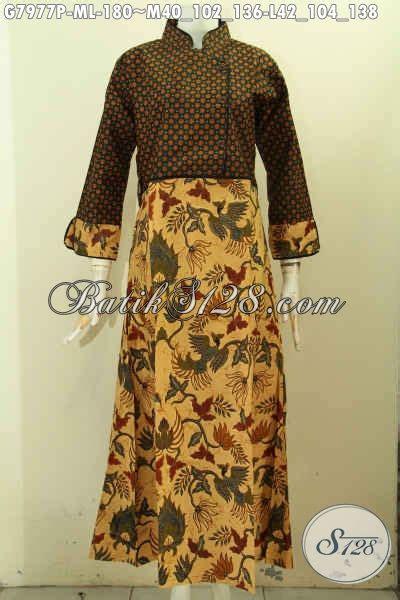 Pakaian Murah Gamis Motif Kombinasi S M L Xl 1 model baju batik wanita gamis kombinasi paling populer toko batik 2018