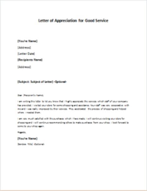 letter appreciation good service writelettercom