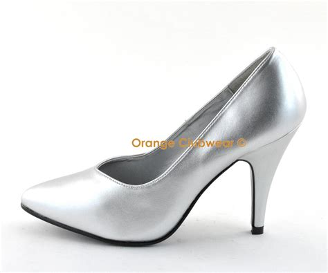 pleaser 420 4 quot high heel silver pumps wide