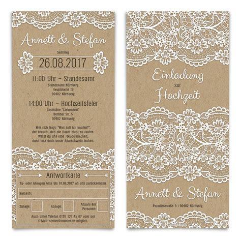 Hochzeitskarten Mit Spitze by Hochzeitseinladungen Mit Antwortkarte Kraftpapier Spitze