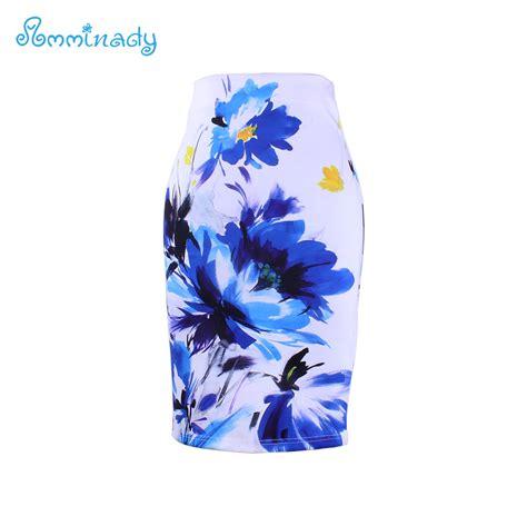 White Blue Flower Pencil Skirt Size S M L 2017 new arrival pencil skirts blue flower print bodycon midi saia fashion faldas