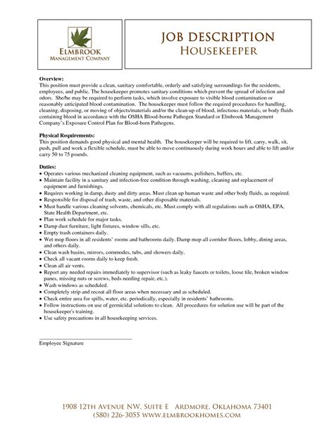 housekeeping description for resume housekeeper resume sle best template collection