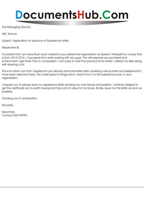 Experience Letter After Resignation Application For Issuance Of Experience Letter Documentshub