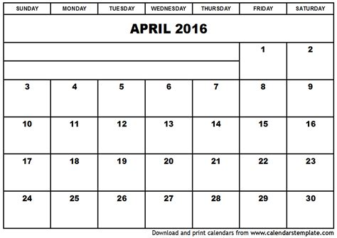 printable planner april 2016 april 2016 calendar template