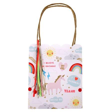 Tas Selempang Unicorn Rainbow sac cadeau papier pour invit 233 anniversaire licorne meri