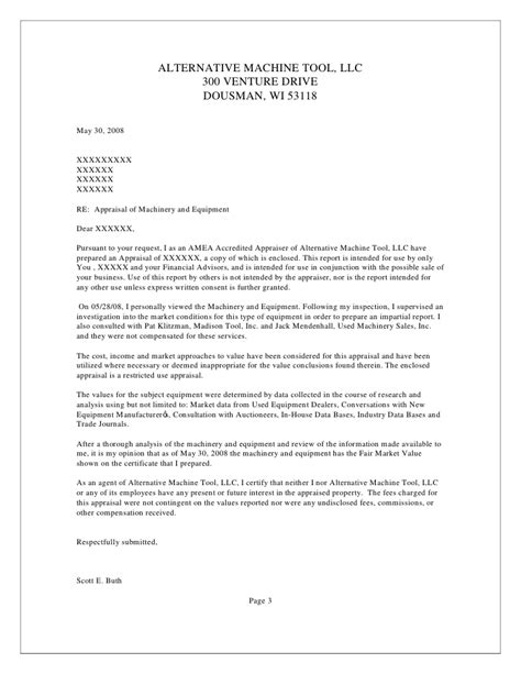 valuation letter template sle machinery appraisal