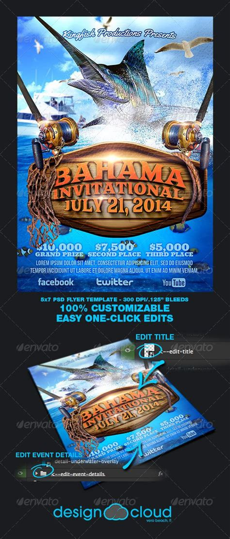 fishing tournament flyer template boats flyer template
