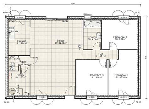 Plan Maison Plein Pied Gratuit 3383 by Plan De Maison Plain Pied 100m2 Gratuit Ventana