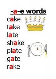 worksheet a e words