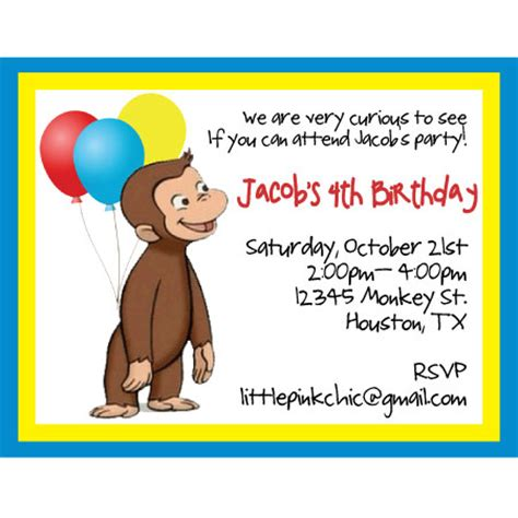 curious george birthday card template curious george invitations template best template collection