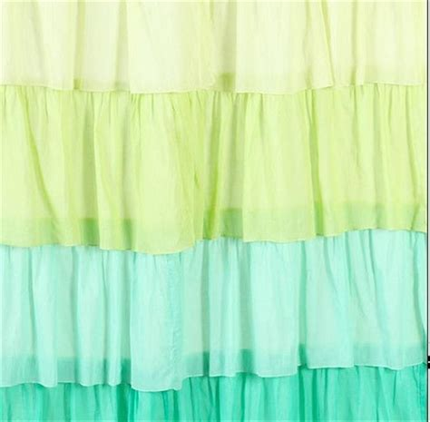 Yellow Ruffle Curtains Shabby Chic Ruffled Flamenco Yellow Green Ruffle Bath Shower Curtain Nw Ebay