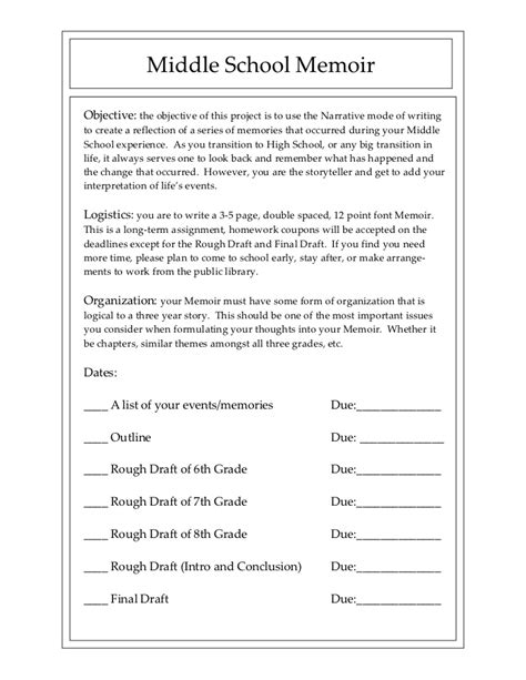 Middle School Memoir Writing A Memoir Template