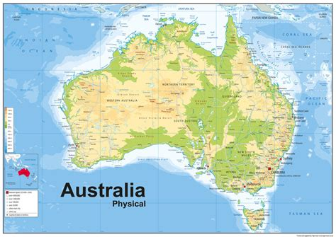 australia geographical features map australia physical and social style kullabs