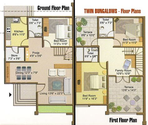 bungalow house floor plans and design twin bungalow floor plan