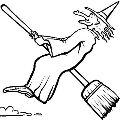witch broomstick coloring page witch on her broom